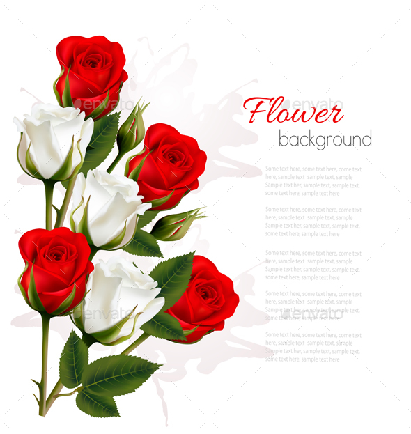 Getting Card With Colorful Roses - Flowers & Plants Nature