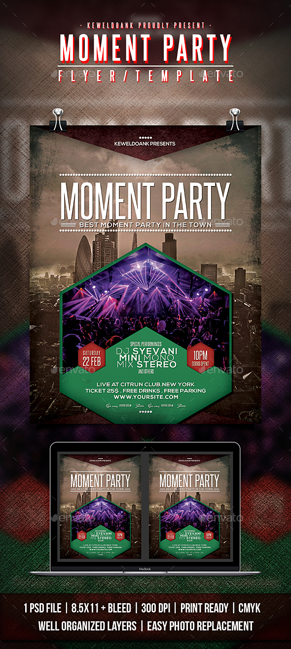 Moment Party Flyer / Poster - Clubs & Parties Events
