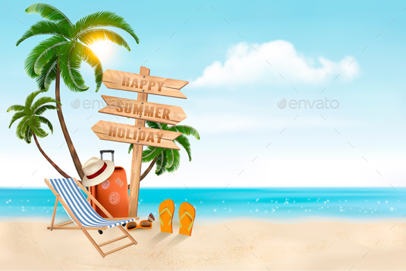 Seaside Vacation Vector - Travel Conceptual