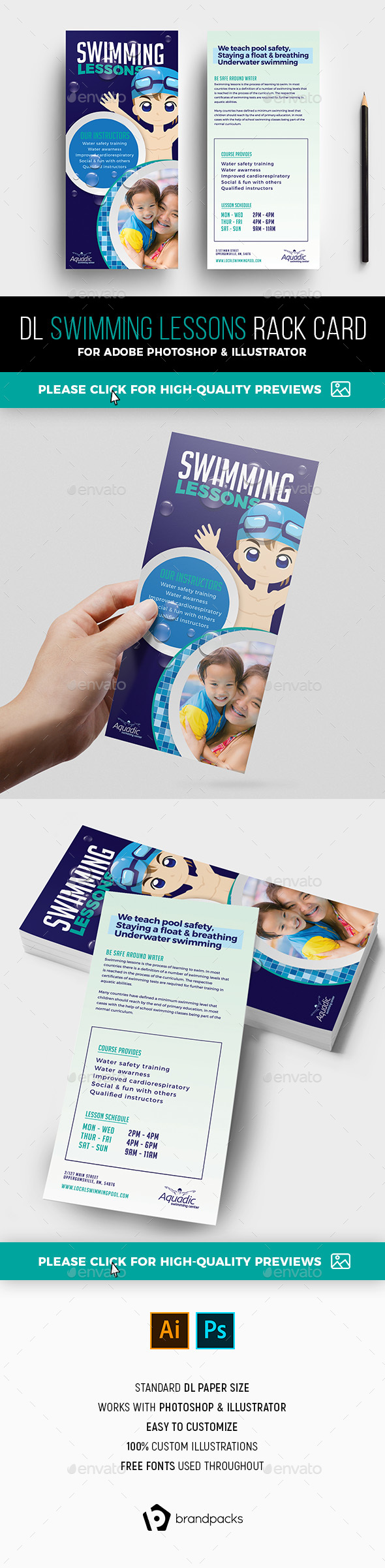 Swimming Pool Rack Card Template - Sports Events