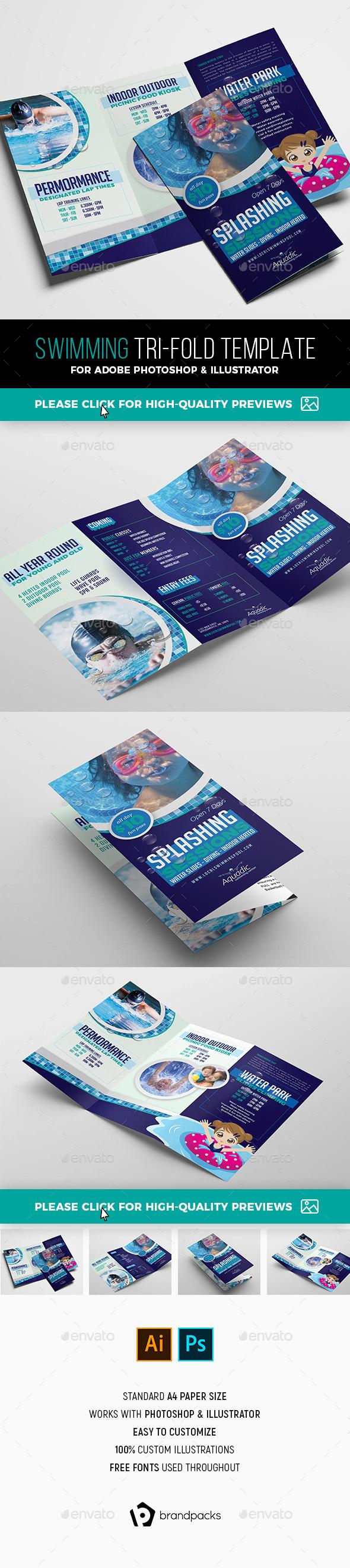 Local Swimming Pool Tri-Fold Brochure Template - Informational Brochures