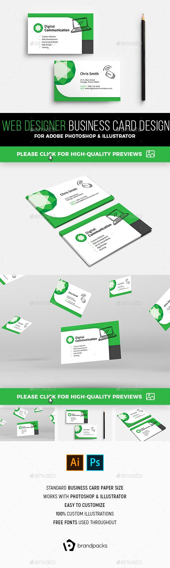 Web Design Service Business Card Template - Corporate Business Cards