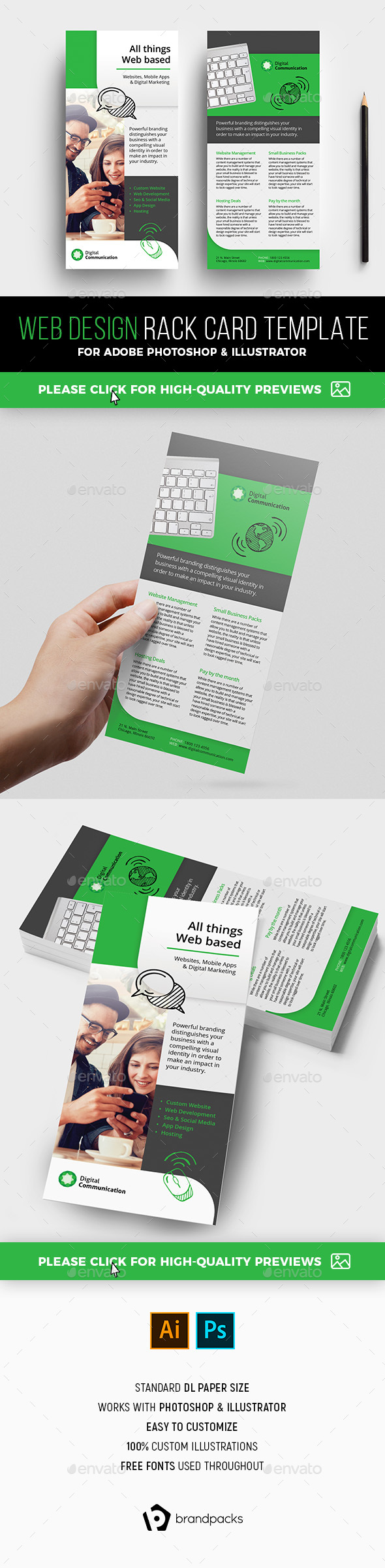 Web Design Service Rack Card Template - Corporate Flyers