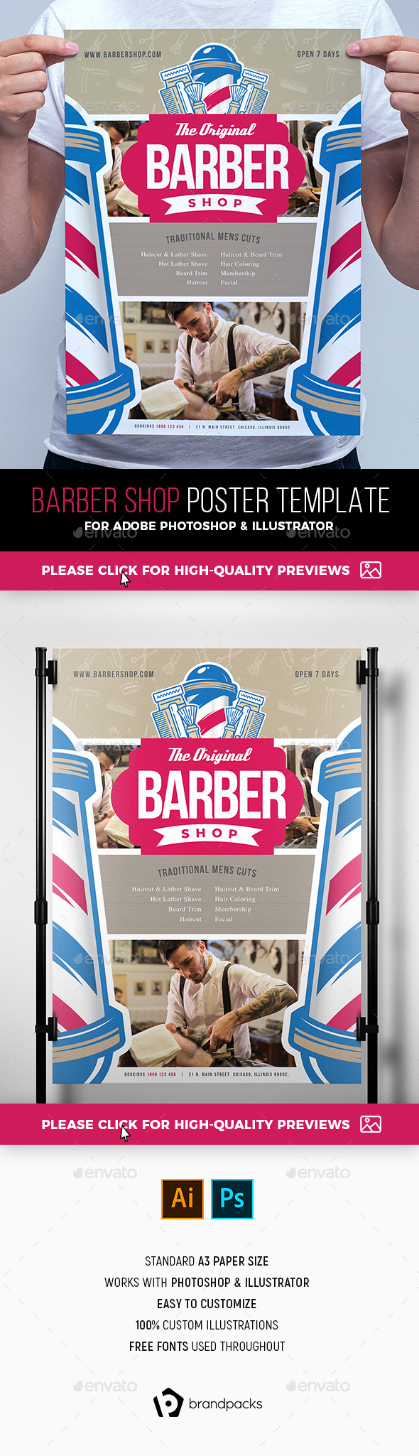 Barber Shop Poster Template - Commerce Flyers