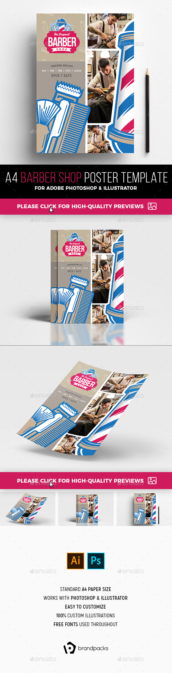 A4 Barber Shop Advertisement Template - Commerce Flyers