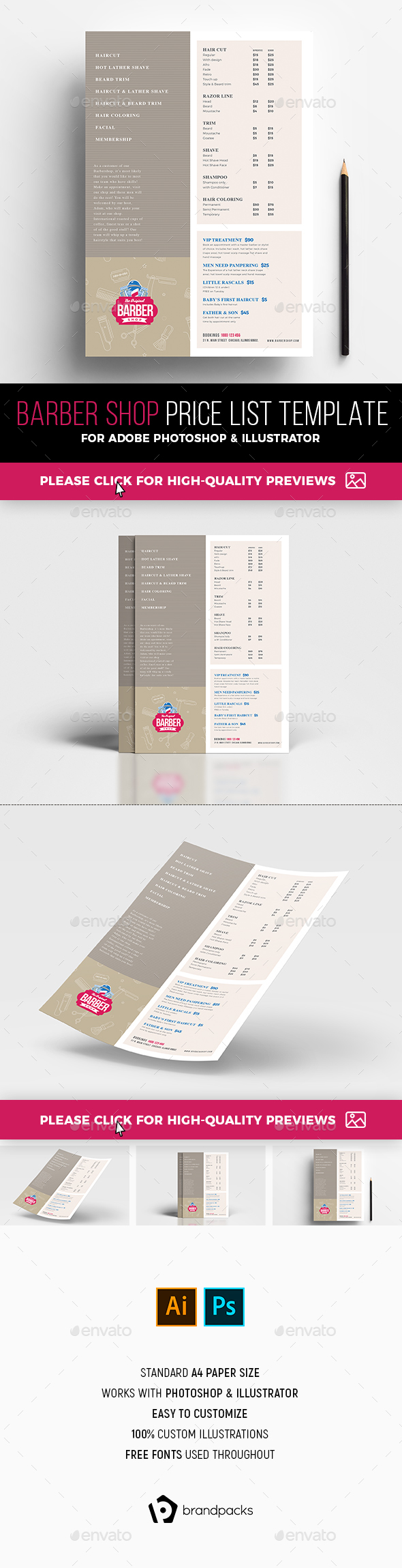 Barber Shop Price List Template - Flyers Print Templates