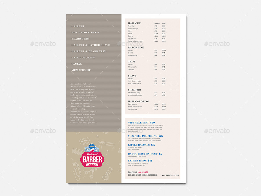 Barber Shop Price List Template by BrandPacks | GraphicRiver