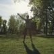 Healthy Lifestyle Fitness Sporty Woman Stretching Before Run Early in the Morning in Forest Area - VideoHive Item for Sale