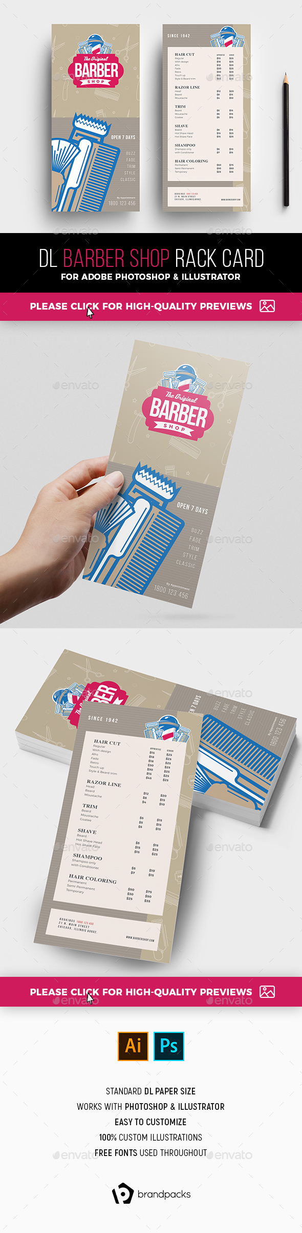 Barber Shop Rack Card Template - Corporate Flyers