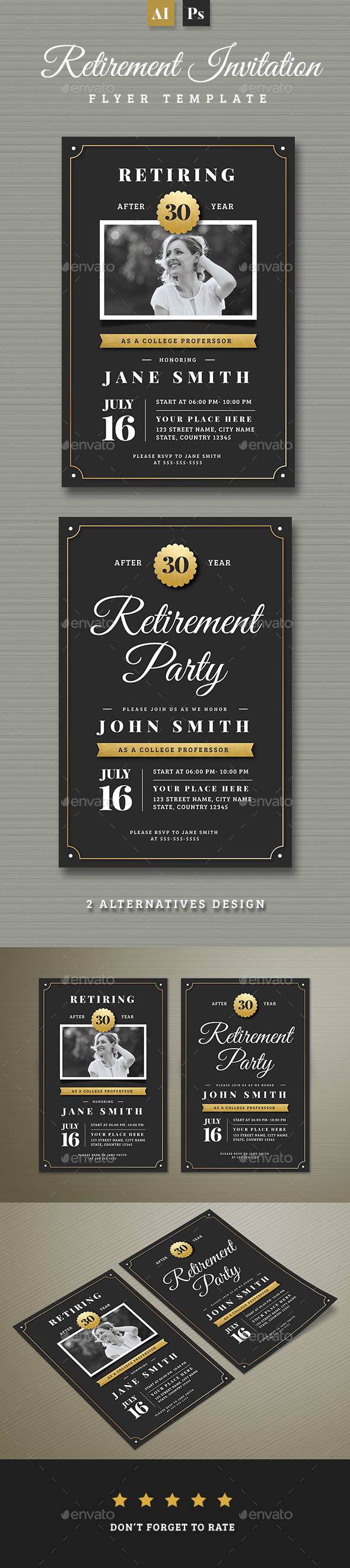 Gold Retirement Invitation Flyer Templates - Invitations Cards & Invites