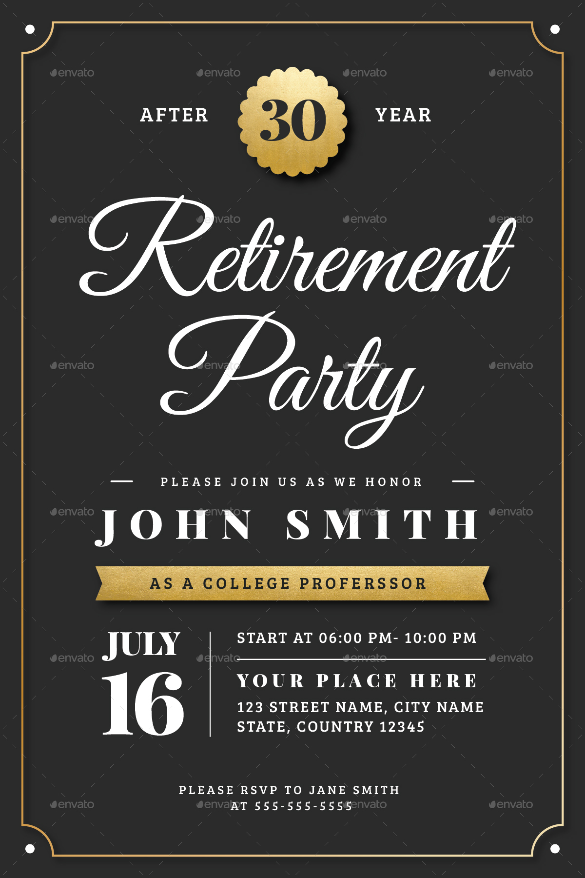 gold retirement invitation flyer templates by vector vactory