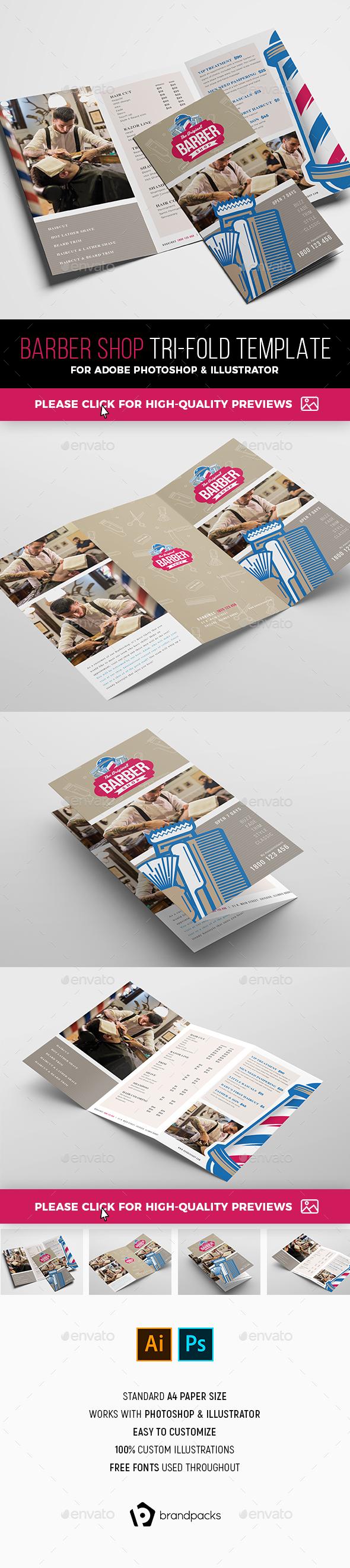 Barber Shop Tri-Fold Brochure Template - Informational Brochures