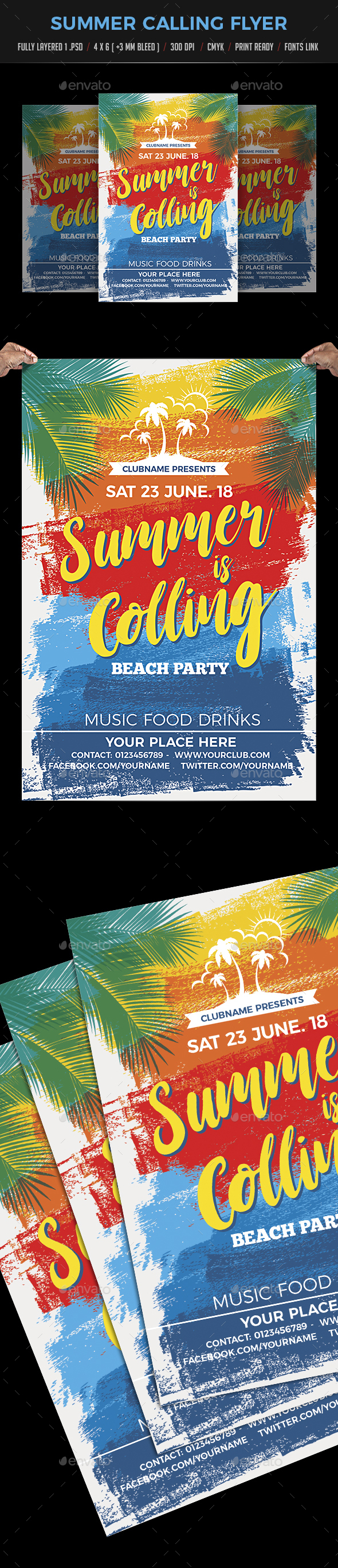 Summer Calling / Beach Party Flyer - Clubs & Parties Events