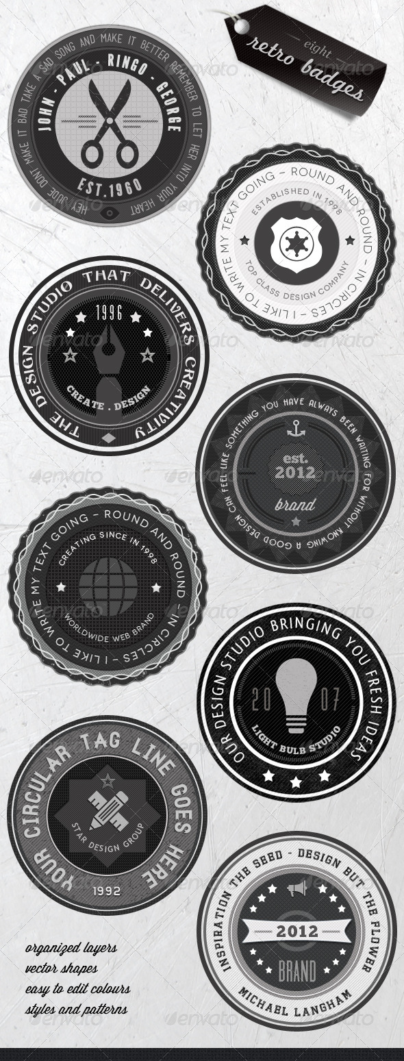 Retro Badges - Faded Vintage Labels - V.3 - Badges & Stickers Web Elements