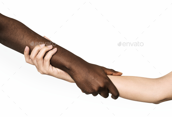 Hand holding hand isolated on background - Stock Photo - Images