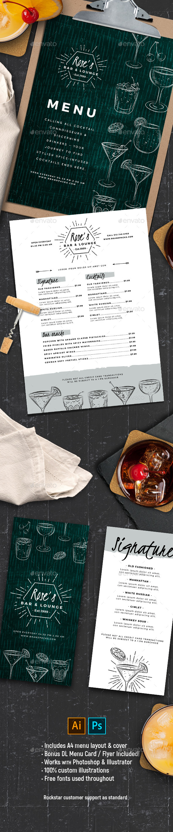 Cocktail Menu Template - Food Menus Print Templates