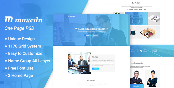 Maxcdn  PSD Template - Corporate PSD Templates