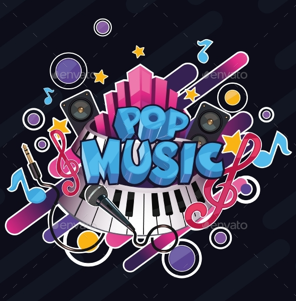 Cartoon Pop Music Illustration - Backgrounds Decorative