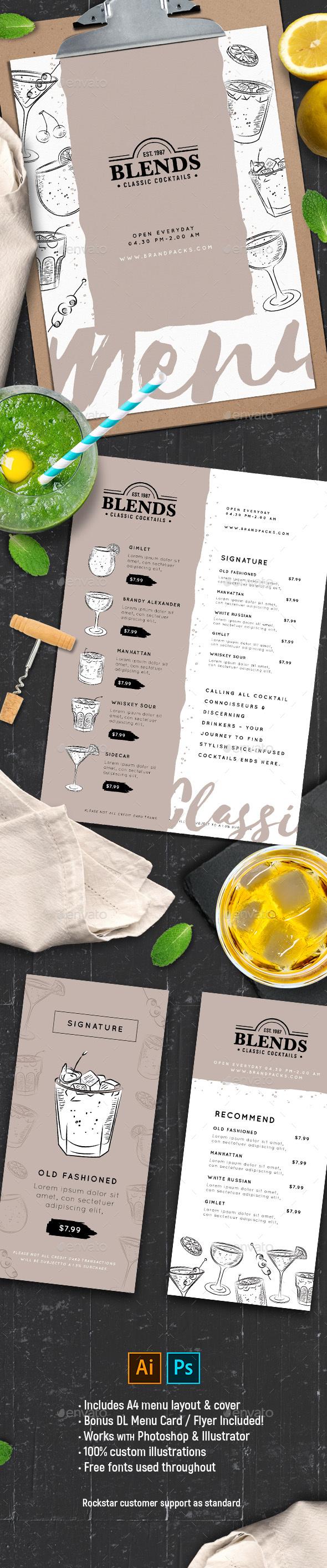 Cocktail Menu / Drink List Template Template - Food Menus Print Templates