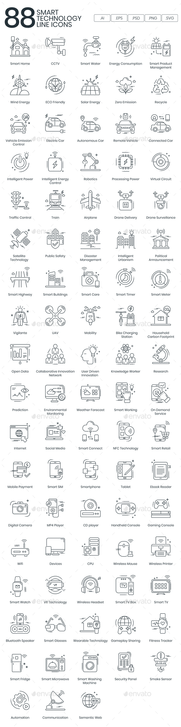 Technology Line Icons - Technology Icons