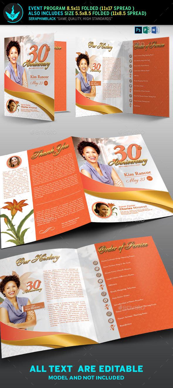 White Gold Plus Peach Church Anniversary Program - Informational Brochures