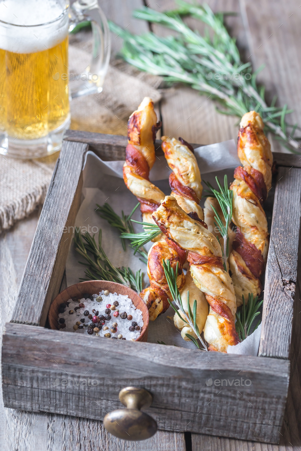 Bacon-wrapped breadsticks - Stock Photo - Images