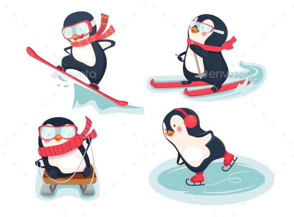 Penguins in Winter - Sports/Activity Conceptual