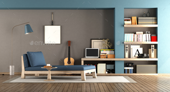 Blue and brown living room - Stock Photo - Images