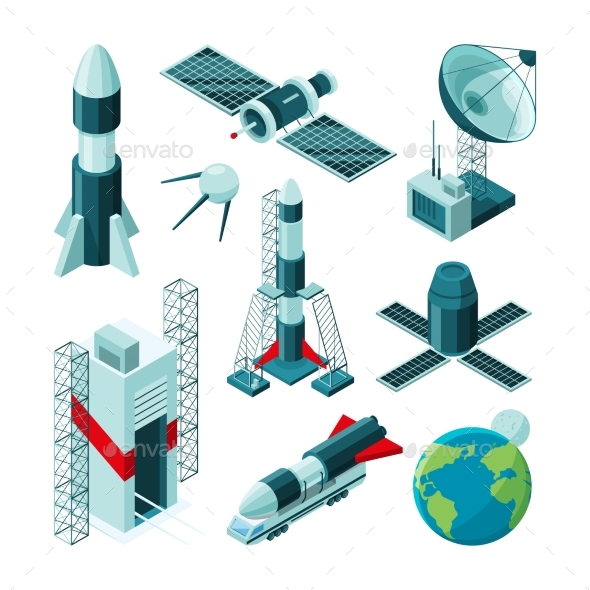 Isometric Pictures of Space Tools - Man-made Objects Objects