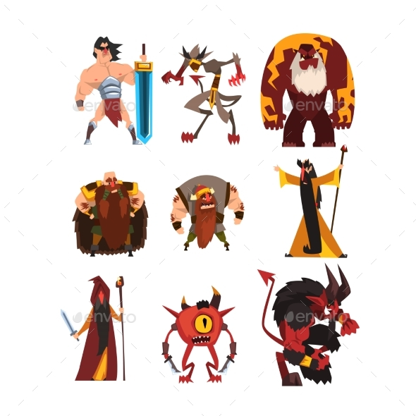 Collection with Different Fantasy Game Characters - Miscellaneous Characters