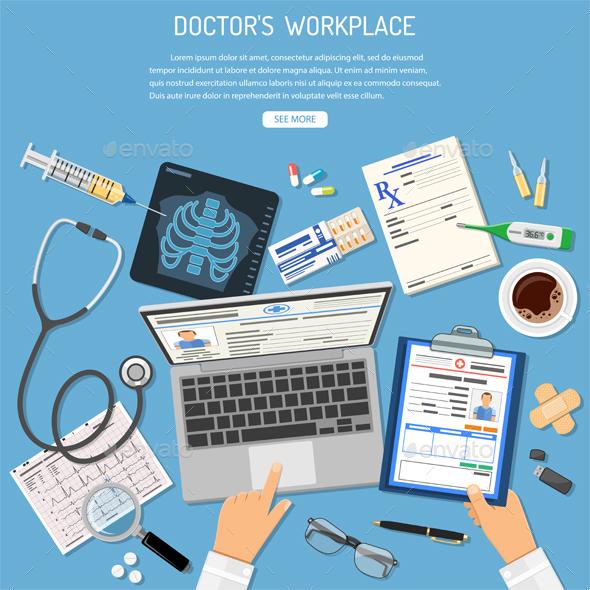 Doctors Workplace and Medical Diagnostics Concept - Health/Medicine Conceptual