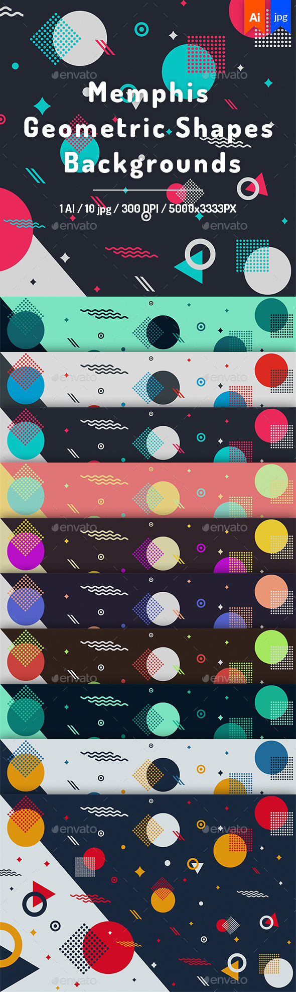 Memphis Geometric Shapes Backgrounds - Backgrounds Graphics