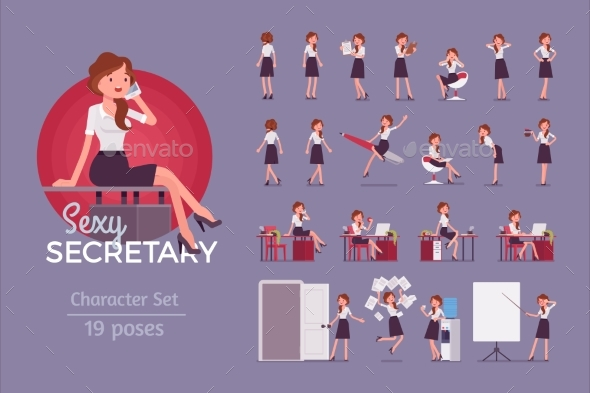Secretary Ready-to-Use Character Set - People Characters