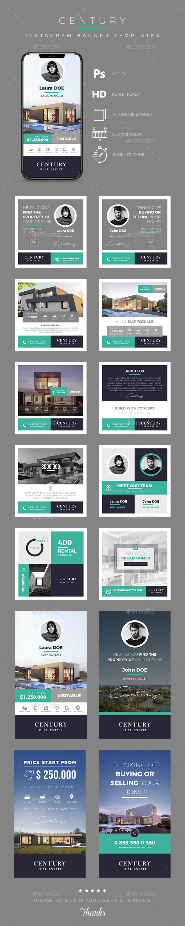 Real Estate Instagram Banner and Story Templates - Social Media Web Elements