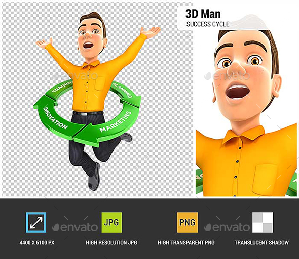 3D Man Jumping Inside Success Cycle - Characters 3D Renders