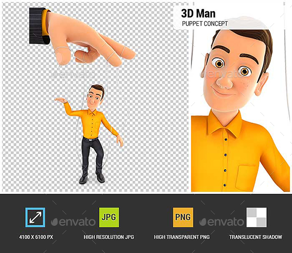 3D Man Puppet Concept - Characters 3D Renders