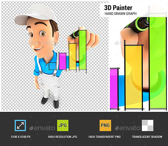 3D Painter Hand Drawn Graph - Characters 3D Renders