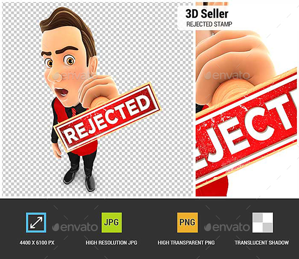 3D Seller Rejected Stamp - Characters 3D Renders