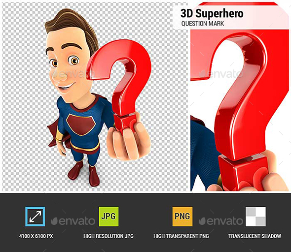 3D Superhero Holding a Question Mark Icon - Characters 3D Renders