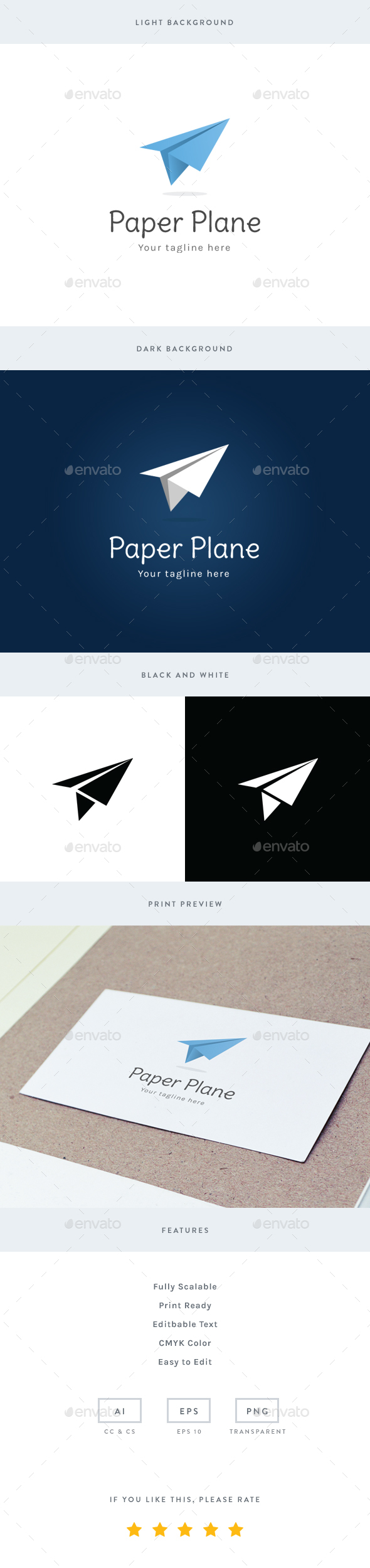 Paper Plane Logo - Objects Logo Templates