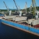the Cargo Ship Is in the Port Pier at the Loading of Coal. Aerial View From Drone - VideoHive Item for Sale