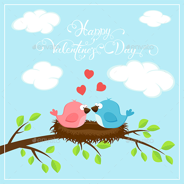 Happy Valentines Day with Two Birds and Hearts - Valentines Seasons/Holidays