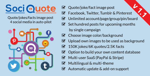 SociQuote : Quotes/Jokes/Facts Image Post in Auto-Pilot (Facebook,Twitter,Tumblr,Pinterest) - CodeCanyon Item for Sale