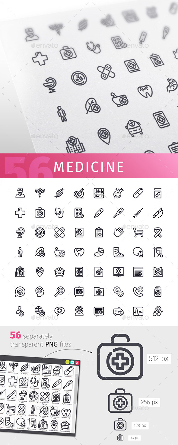 Medicine Line Icons Set - Objects Icons