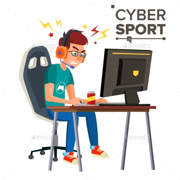 Cyber Sport Player Vector - People Characters