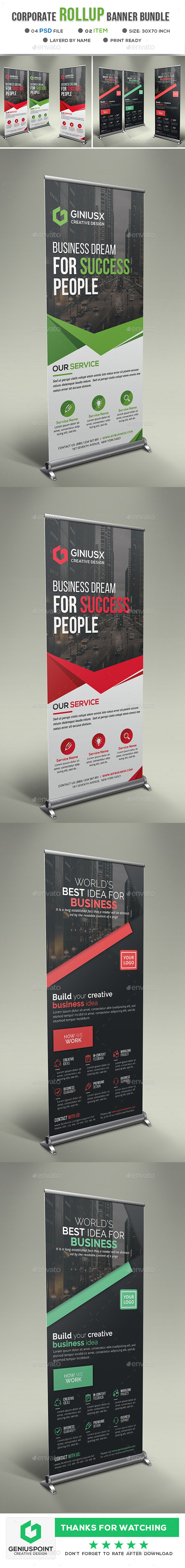 Corporate Roll-Up Banner Bundle - Signage Print Templates