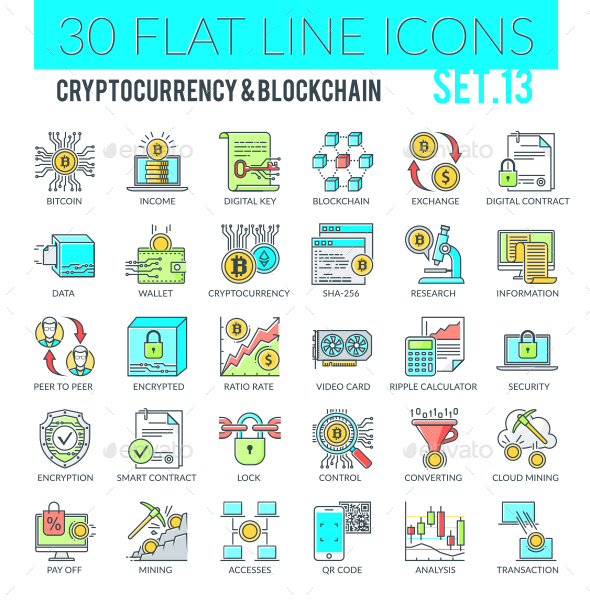 Cryptocurrency and Blockchain Icons - Technology Icons