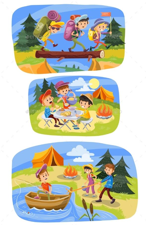 Kids Summer Camping Vector Cartoon Illustration - Sports/Activity Conceptual