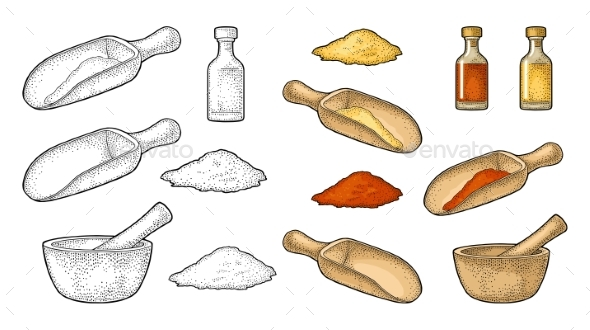Wooden Mortar, Pestle, Scoop and Glass Bottle - Miscellaneous Vectors