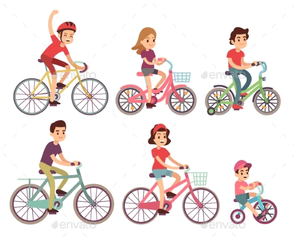 People Riding Bikes - People Characters